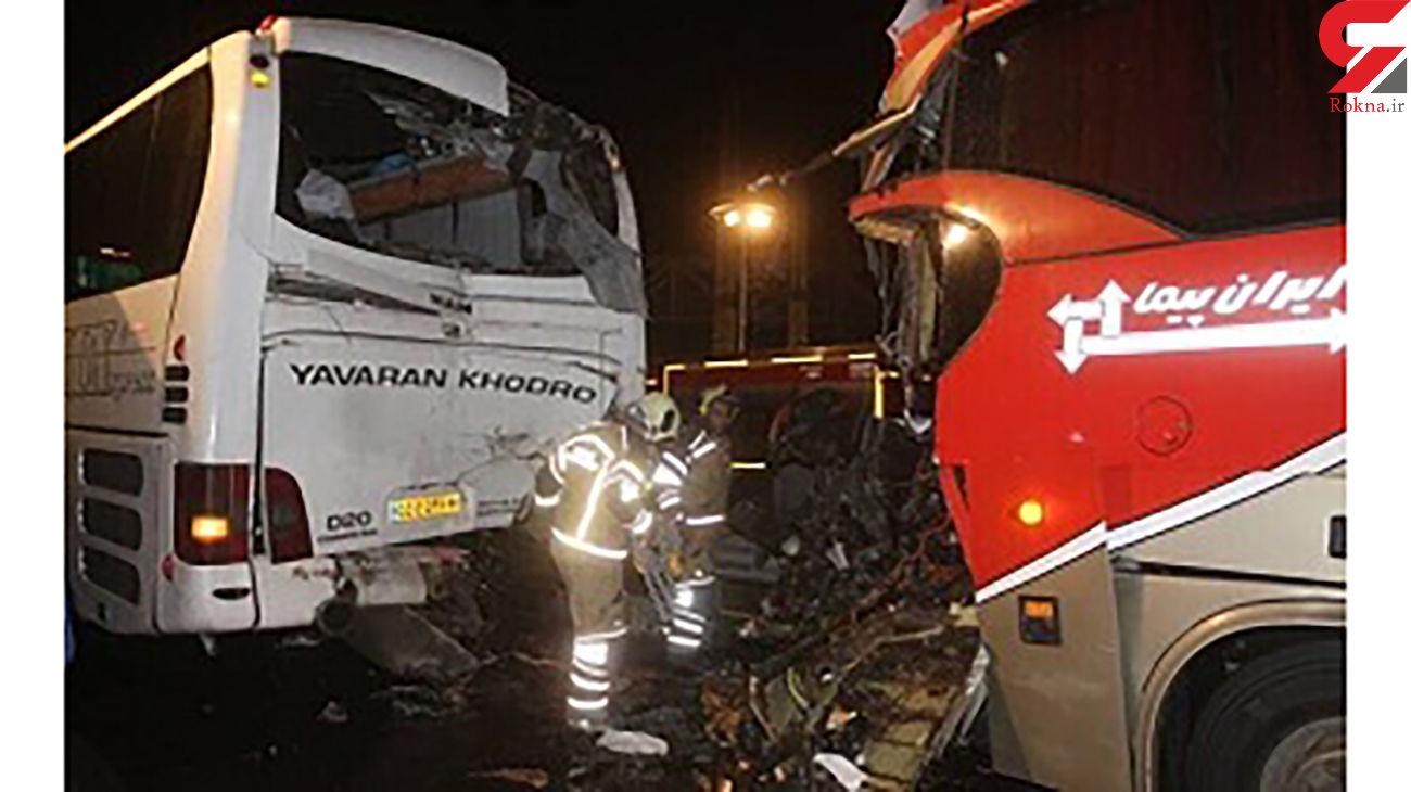تصادف وحشت آور 2 اتوبوس مسافربری در عوارضی زنجان - قزوین + عکس