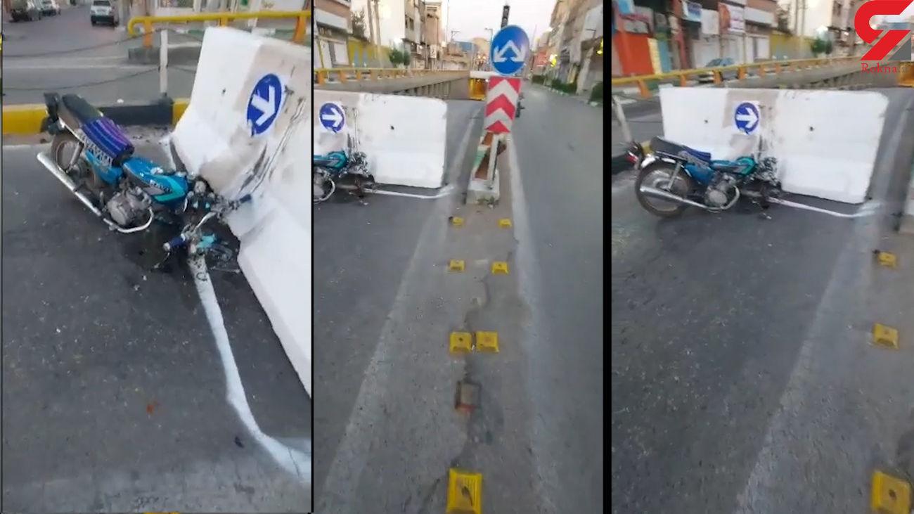 تصادف موتورسیکلت با مانع کرونایی در دزفول + فیلم