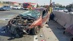 عکس هایی از تصادف عجیب در بزرگراه شلوغ تهران / حسرت راننده ماشینی که پوکید + جزییات