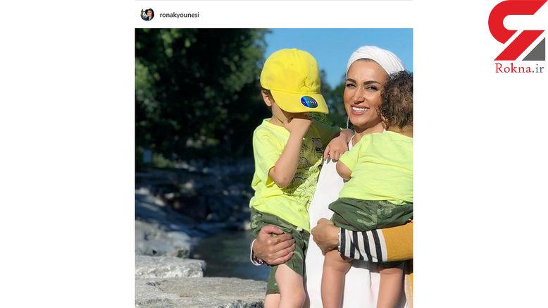 خانم بازیگر مهاجرت کرده به کانادا در آغوش پسرانش +عکس