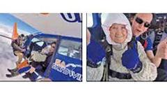 سوپرایز میهمانان تولد توسط پیرزن 102 ساله با پرشی 4300 متری+ عکس