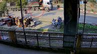 له شدن دردناک موتورسوار زیر چرخ های تریلی 18 چرخ + فیلم تکاندهنده