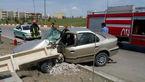 تصادف شدید سمند با تیر برق + عکس