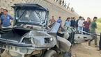 عکس سقوط پژو 405 از پل / 4 مسافر کشته شدند