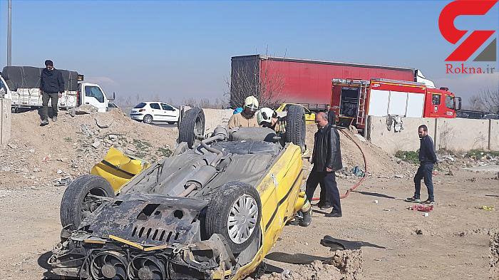 تاکسی زرد چپ کرد و یک تن را کشت / وضعیت 3 مسافر دیگر وخیم است + تصاویر دلخراش