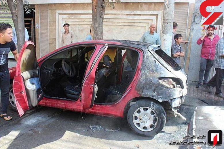 آتش سوزی مشکوک 3 خودرو در شهرری+ تصاویر