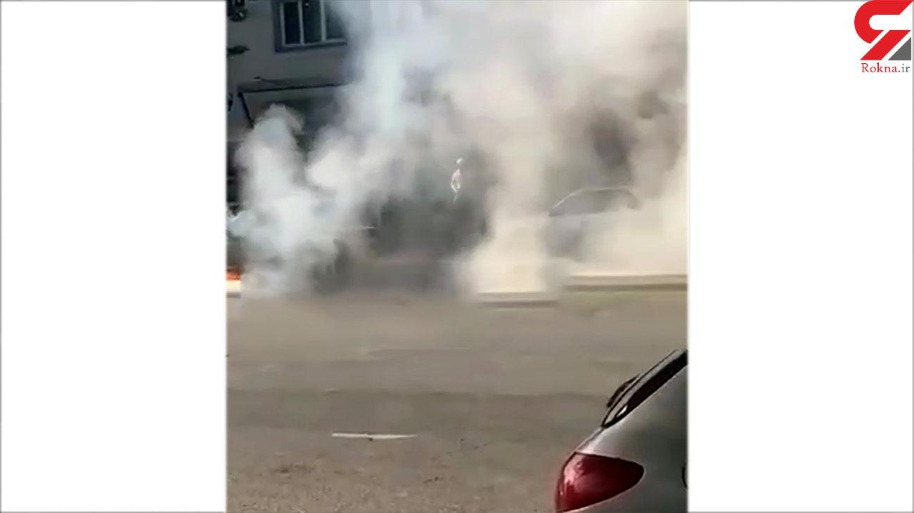 آتش سوزی پراید در بلوار امام رضا ساری+ فیلم