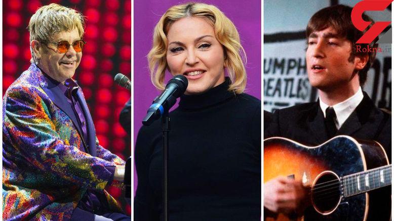 ۱۰۰ خواننده برتر تاریخ / بیتلز، مدونا و التون جان در صدر