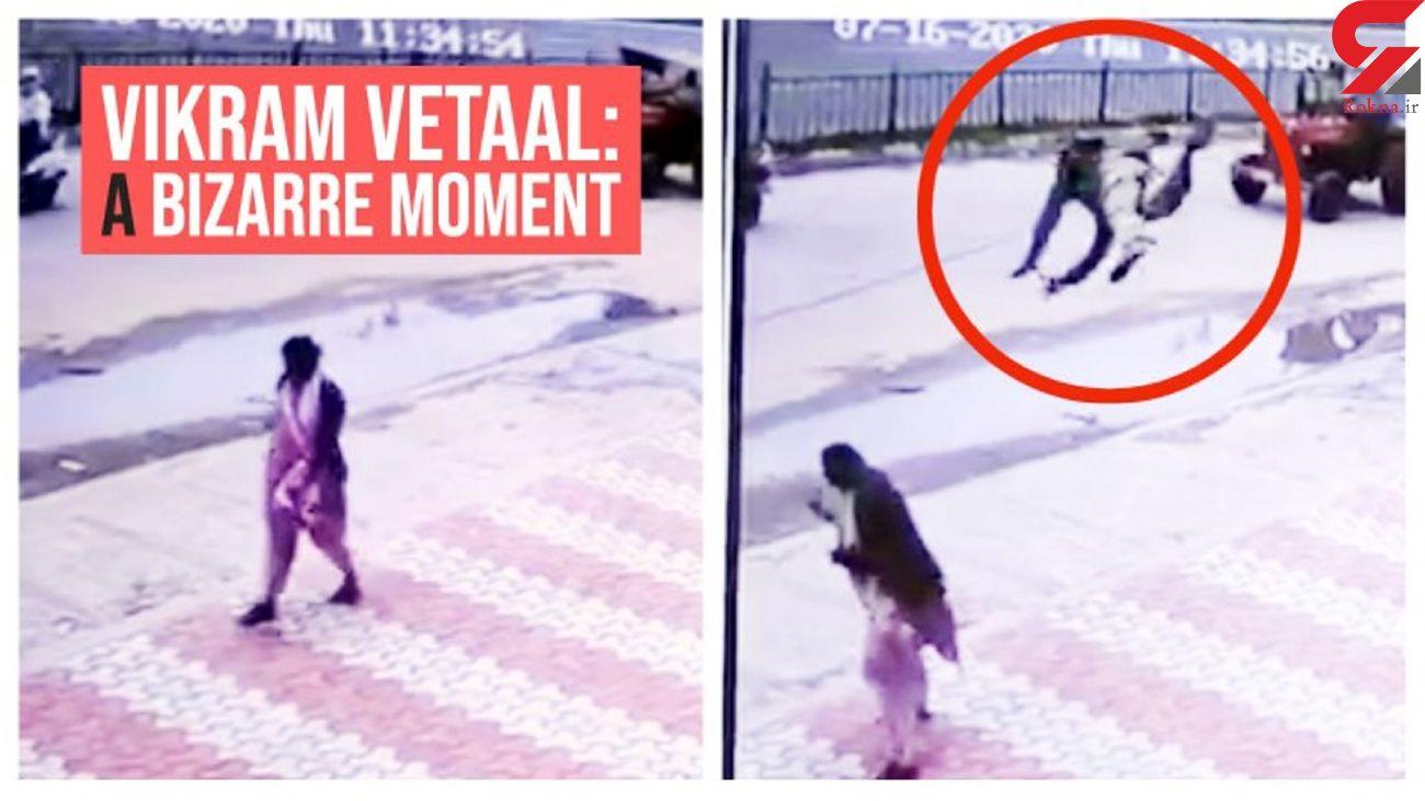 فیلم پرواز واقعی یک مرد در خیابان / او روی یک زن فرود آمد! / هند