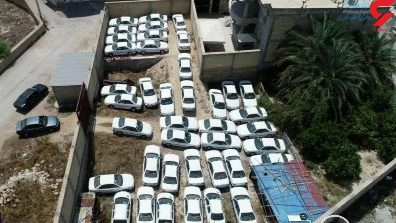 عکس هوایی احتکار 73 خودروی صفر کیلومتر در حیاط یک خانه