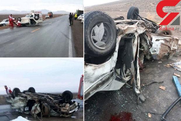یک کشته و ۴ مجروح در واژگونی خودروی پراید در تاکستان + عکس