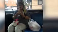 رفتار زننده زن بی حجاب با دختر محجبه در اتوبوس + عکس زن تحت تعقیب