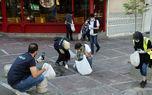 پاکسازی خیابان ولی عصر از فیلتر سیگار + تصاویر