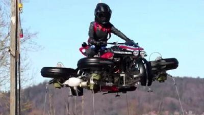 موتورسیکلت پرنده با موفقیت پرواز کرد+تصاویر