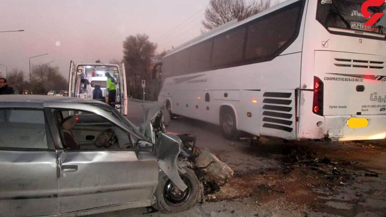 تصادف هولناک سمند و اتوبوس در خیابان کاوه اصفهان+ عکس ها