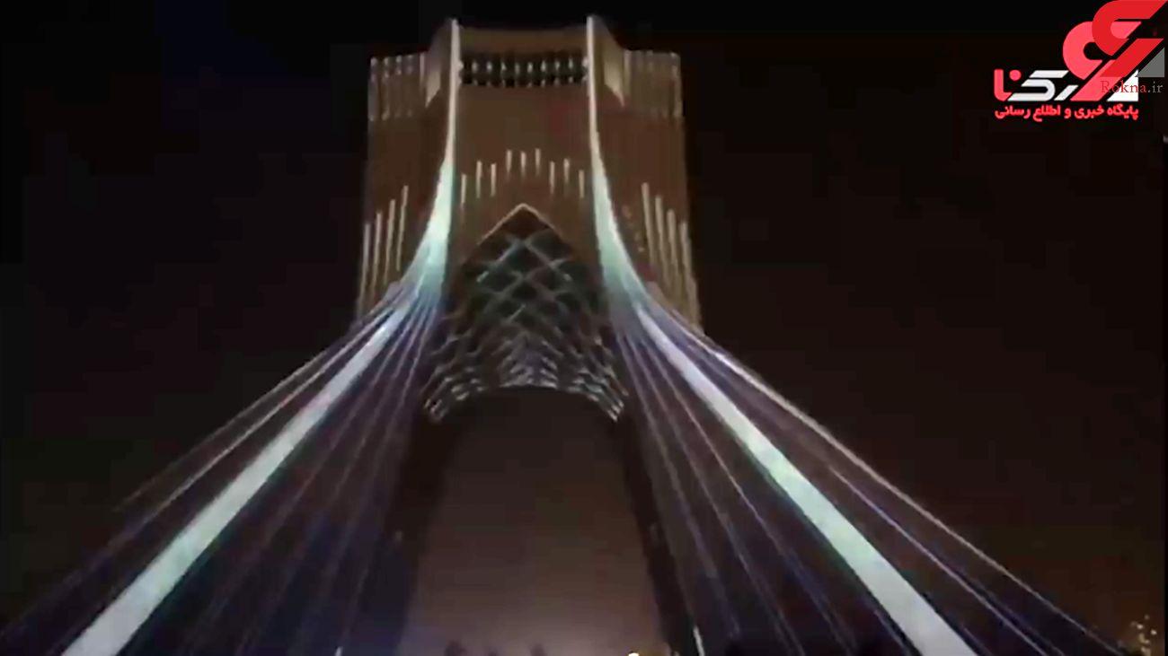 سوگ نورها بر دیوارهای آزادی در عزای ۱۷۶ جانباخته هواپیمای اوکراینی + فیلم