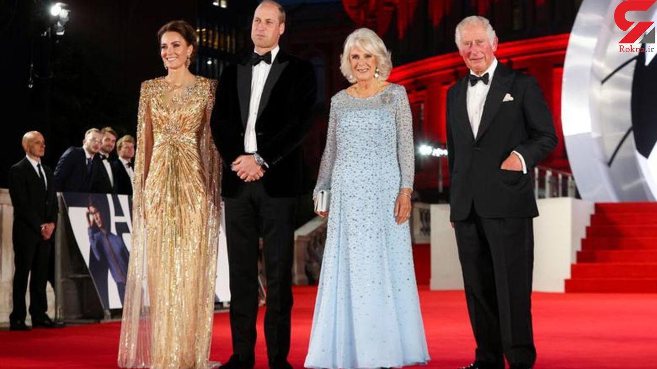 عکس / اعضای خانواده سلطنتی در شب جیمز باند