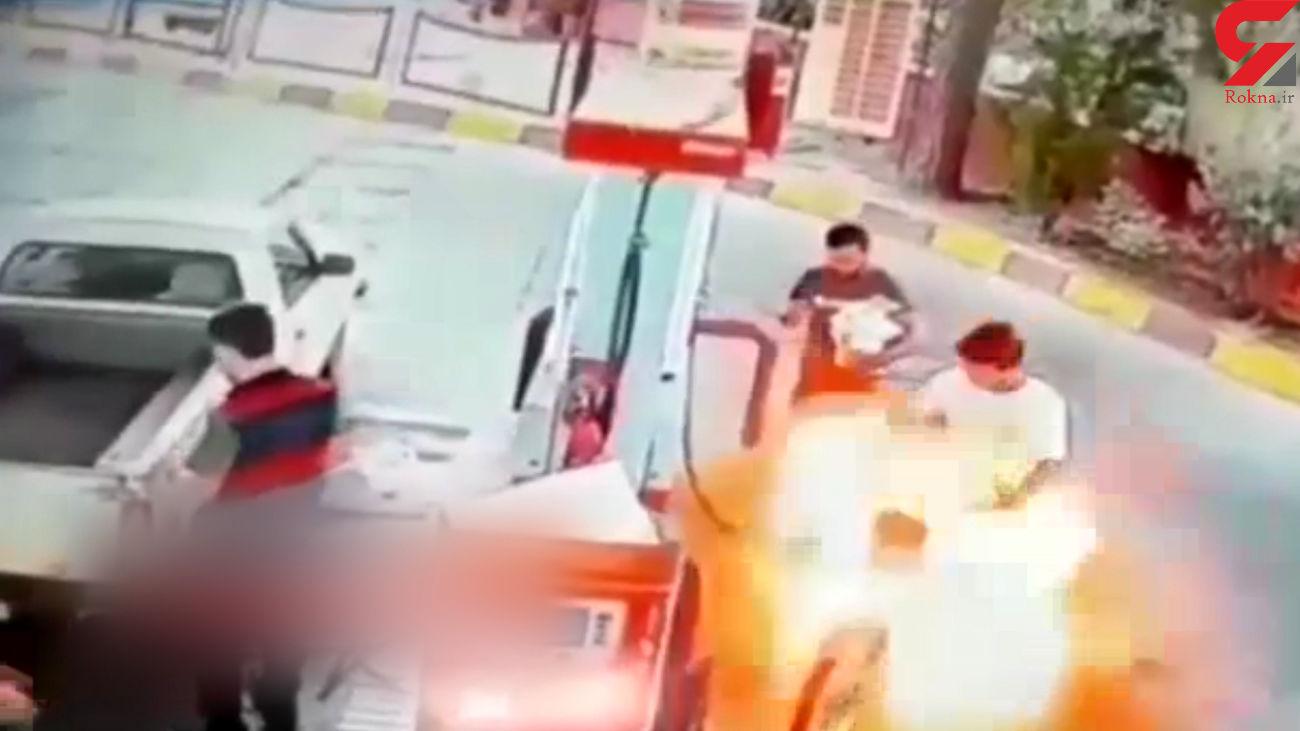 فیلم لحظه زنده زنده سوختن جوان ورامینی در پمپ بنزین