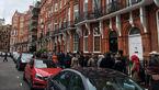 صف طولانی و عجیب مقابل سفارت ایران در لندن را ببینید!