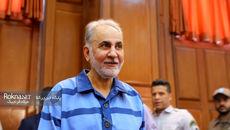 نجفی بدون دستبند و باز خندان در دادگاه دوم + گزارش تصویری