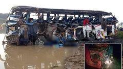 عکس اجساد 36 مسافر خارجی که در  اتوبوس له شدند/ اتوبوس پوکید+عکس اتوبوس