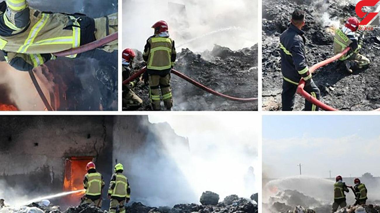 آتش سوزی انبار ضایعات پلاستیک در جادهٔ بوئینزهرا + عکس