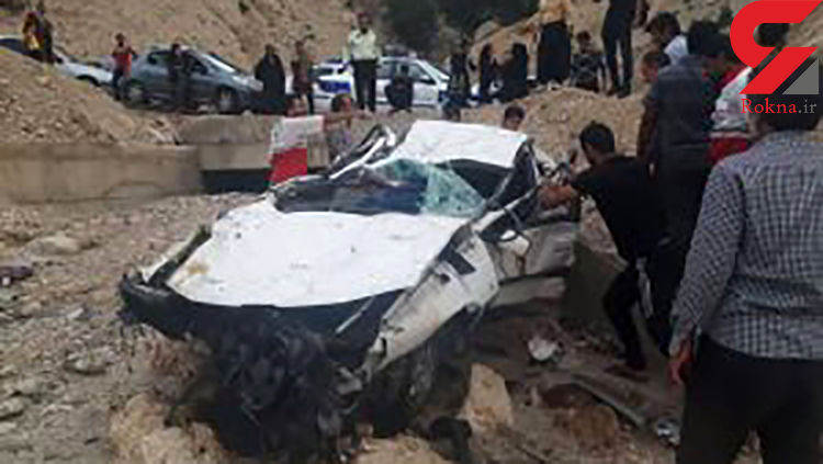 حادثه وحشتناک در جاده یاسوج / پژو پارس جان 8 عضو یک خانواده را گرفت + عکس