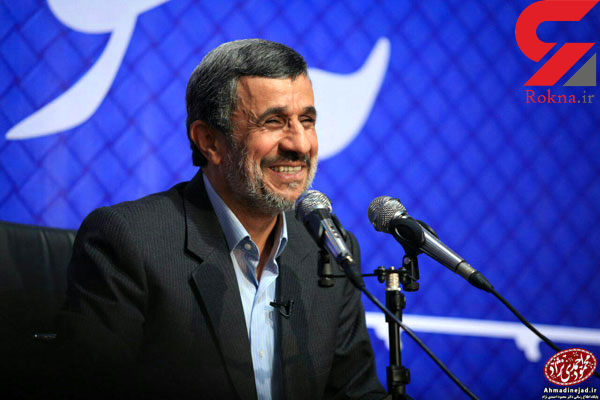 کت حمید بقایی بر تن احمدی نژاد