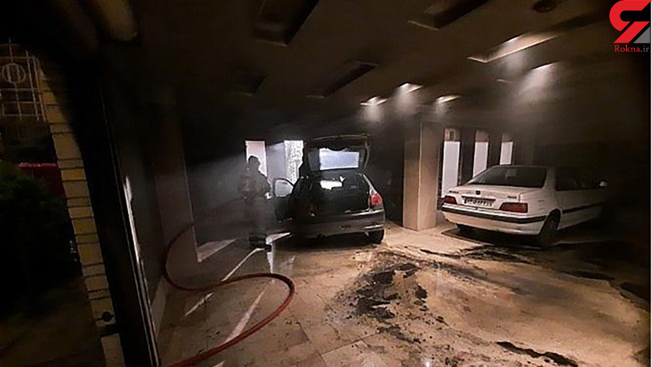 آتش سوزی یک خودرو در پارکینگ خانه / در گرگان رخ داد