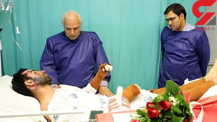 آخرین خبر از وضعیت جسمانی پلیس فداکار / وحید سوخت تا شاهد مرگ دلخراش یک مرد نباشد+ عکس
