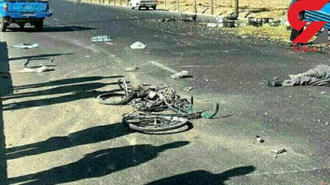 نیسان آبی از روی دوچرخه سوار شیرازی رد شد +عکس تلخ