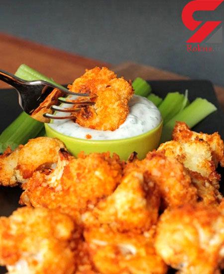 گل کلم سرخ شده پنیری یک میان وعده مقوی + دستور تهیه
