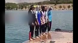 شیرجه زدن دختران قایقران ایران در آب + فیلم