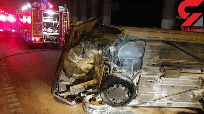 برخورد 2 خودرو با یکدیگر در بزرگراه خاوران حادثه آفرید