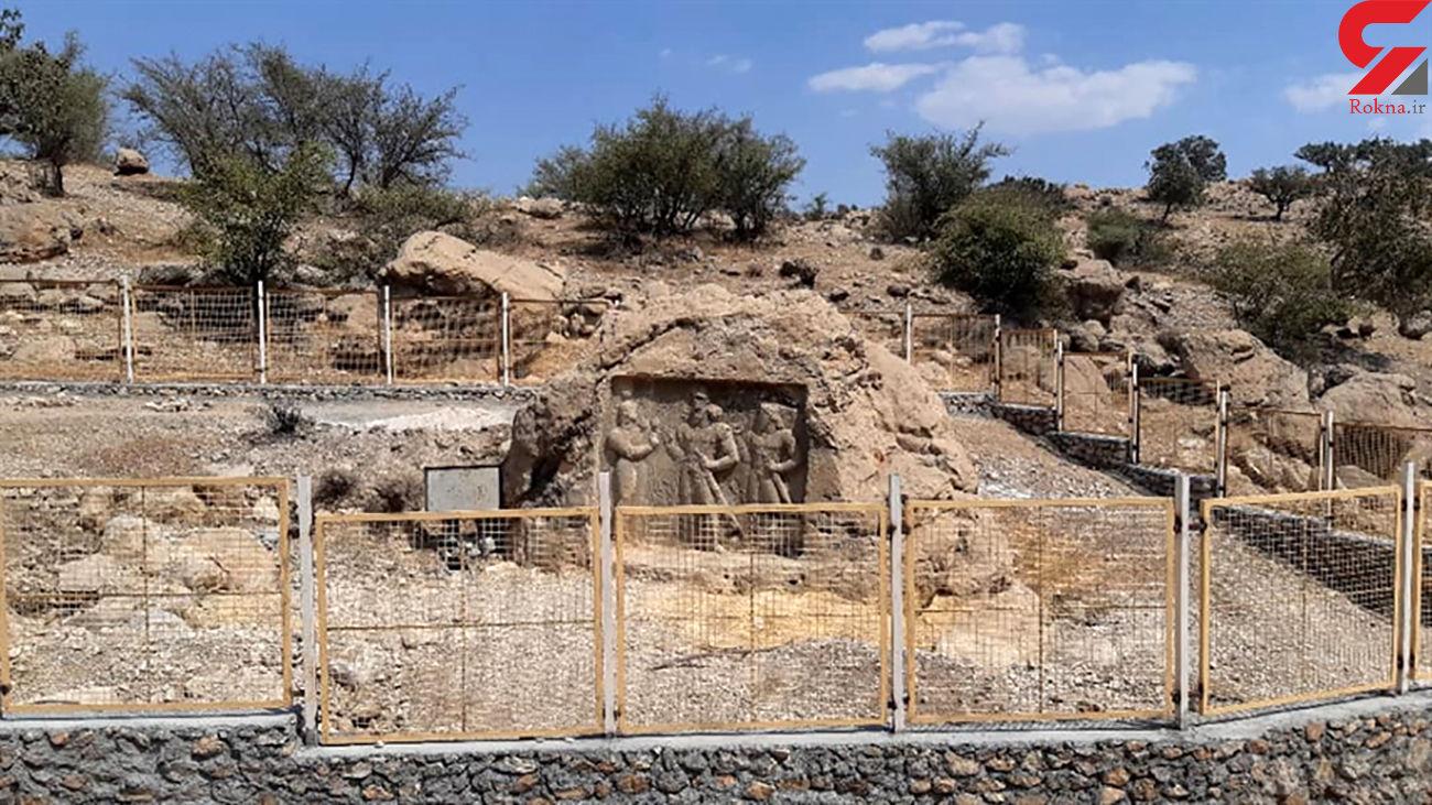 نقش برجسته ساسانی در کوه چنار حصار کشی شد