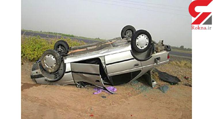 واژگونی خودروی پژو ۴۰۵ در محور لردگان به مالخلیفه