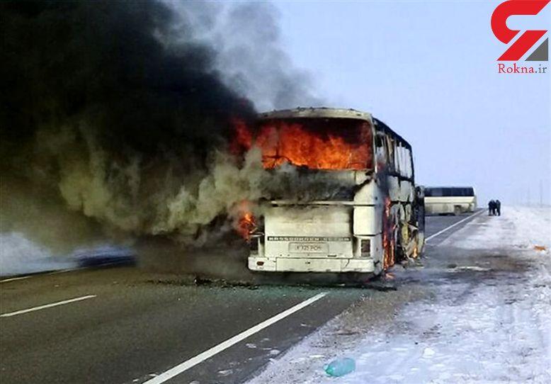 ویدئو لحظه آتش گرفتن اتوبوس در جاده هراز