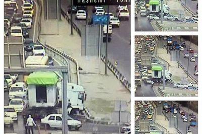 عکس / تریلر جنوب تهران شانه راه را قیچی کرد