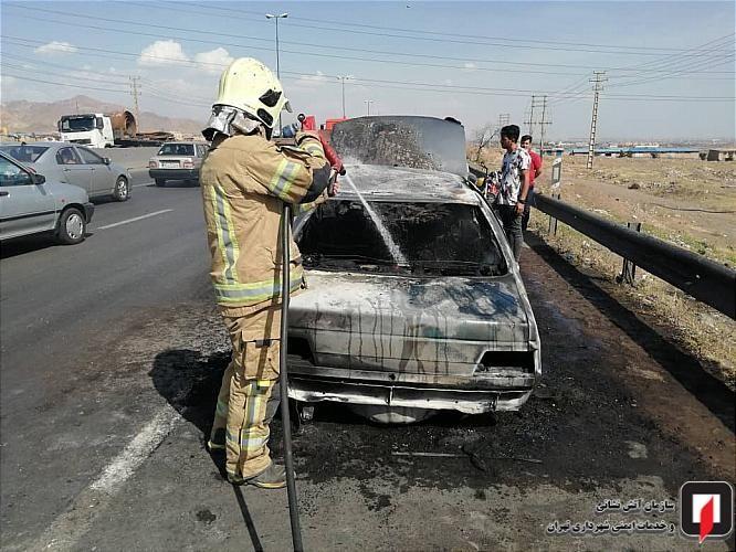 پژو 405 در آتش سوزی جزغاله شد + عکس