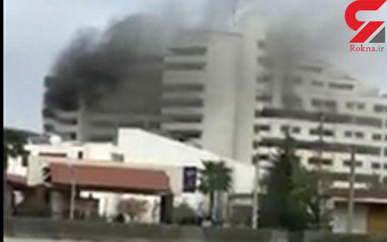 مرگ دلخراش یک تن در آتش سوزی هتل بانک مرکزی نوشهر + فیلم و عکس