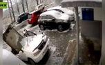 فیلم لحظه سقوط تخته سنگ غول پیکر روی یک ماشین