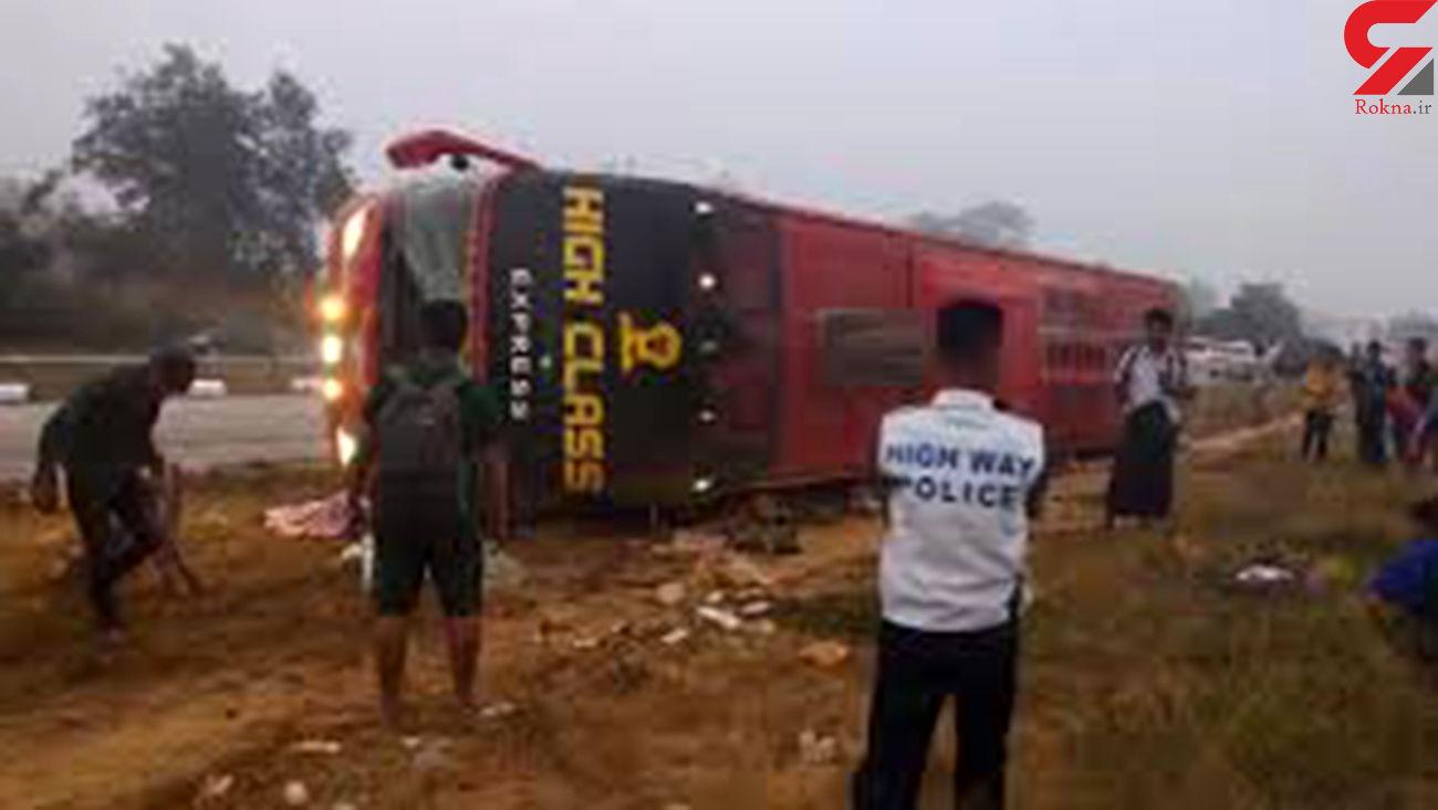 تصادف مرگبار اتوبوس مسافربری در میانمار