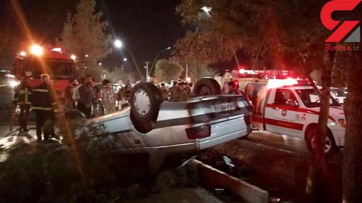 یک کشته و ۳ مصدوم در اثر واژگونی خودرو