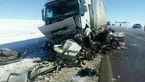 5 سرنشین پژو زیر کامیون له شدند+ عکس حادثه