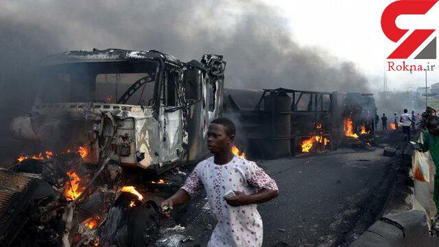 عجیب ترین عکس از انفجار تانکر مرگبار سوخت + جزییات